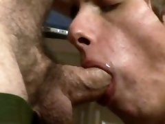 The twink gets fucked by his older lover in the kitchen