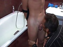 Filthy dirty-minded gays of different age start hot games in bathroom.