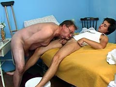 Old patient is fit for anal fucking
