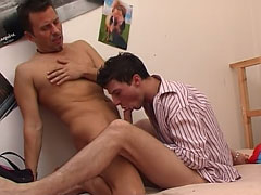 Lecherous boy drilling his experienced partner