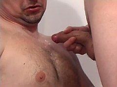 Mature dude's pasted in cum