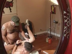 Mature man fucks a boy's ass until they both cum