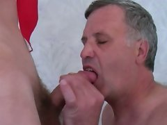 Sex crazed mature gay sucks and gets fucked before swallowing twinks' fresh cum