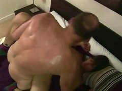 Balding gay oldie ass-fucking a spread-eagled boy